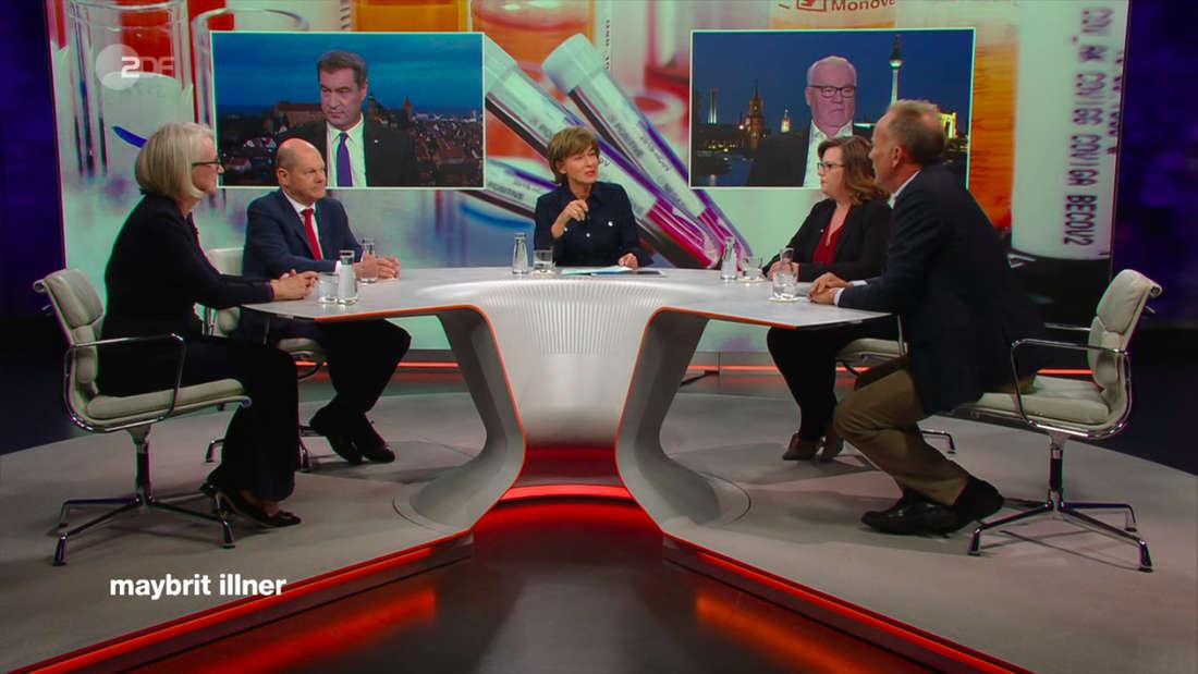 """ZDF-Talk """"maybrit illner"""" im ZDF mit den Gästen Markus Söder (CSU), Olaf Scholz (SPD), Karl Haeusgen (VDMA), Monika Schnitzer, Sandra Beckmann und Hygiene Professor Klaus-Dieter Zastrow"""