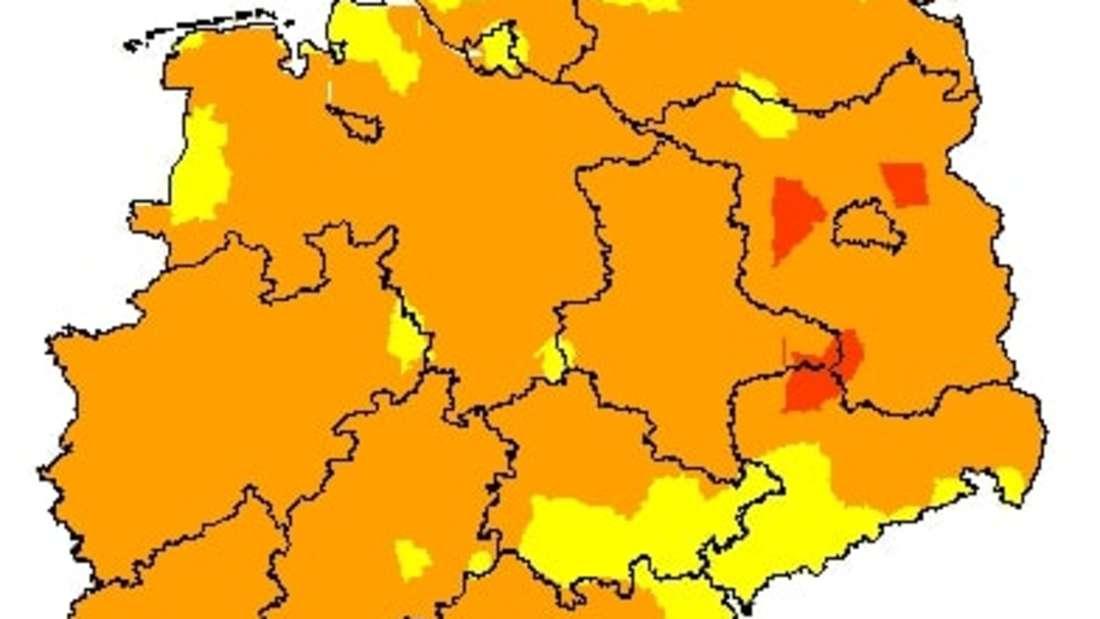 Karte mit dem Waldbrandgefahrenindex des DWD.
