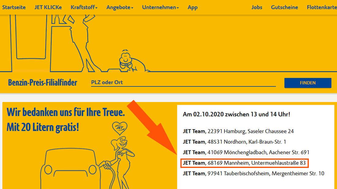 Zwischen 13 und 14 Uhr gibt es am Freitag (2. Oktober) Gratis-Benzin an der Jet-Tankstelle in der Untermühlaustraße Mannheim.