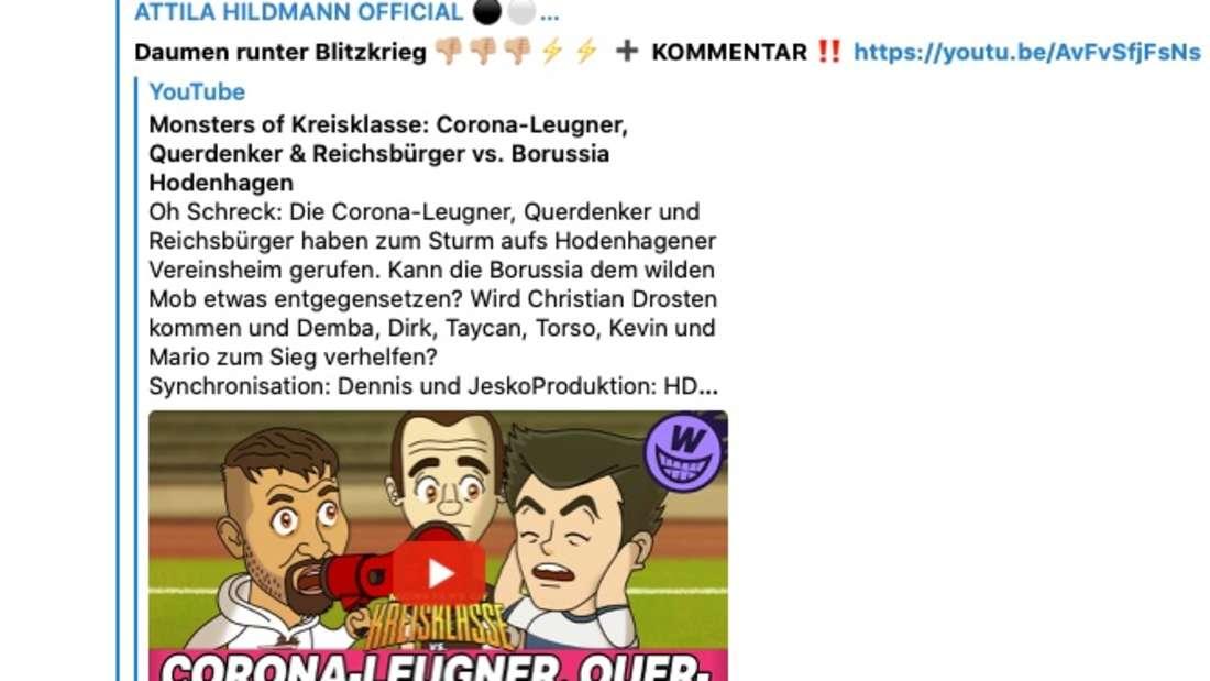 Atilla Hildmann ruft zum Blitzkrieg auf. (Screenshot)