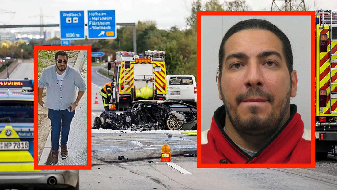 Zwei Fotos des gesuchten und ein Bild von der Unfallstelle (Fotomontage)