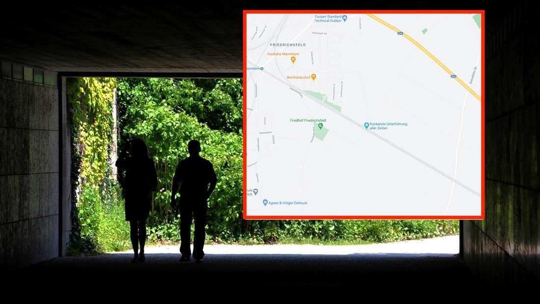 Zwei Personen laufen durch eine dunkle Unterführung.