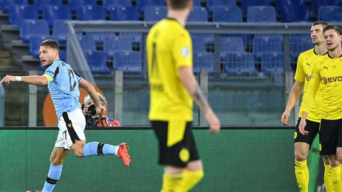 Ciro Immobile trifft zur Führung für Lazio Rom gegen Borussia Dortmund.