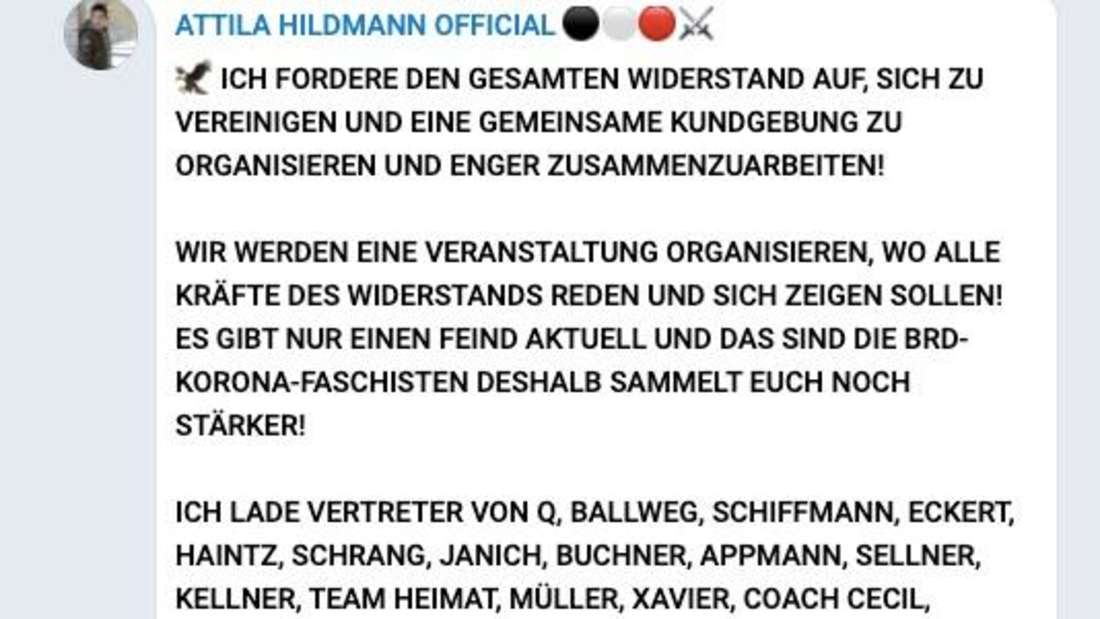 Telegram-Post von Attila Hildmann – Aufruf zu Corona-Demo in Berlin.