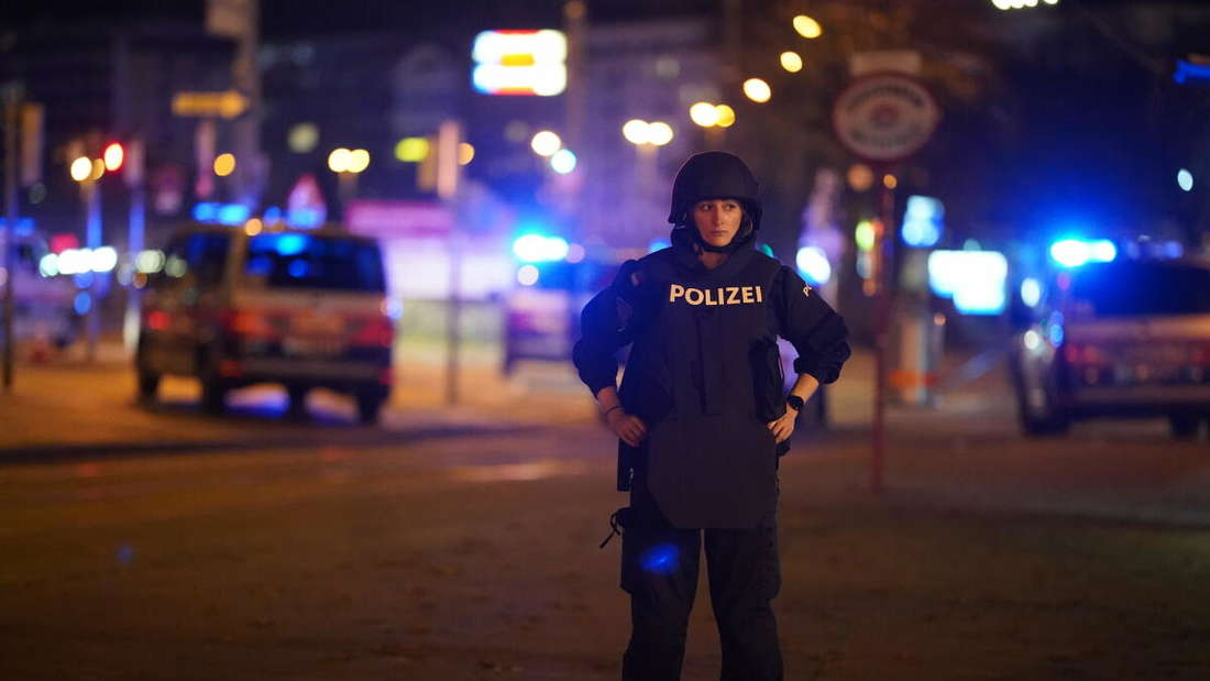 Einsatzkräfte der Polizei stehen am Wiener Schwedenplatz.