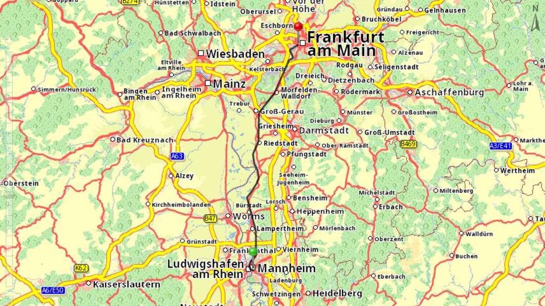 """Die """"alte"""" Strecke Mannheim/Frankfurt."""