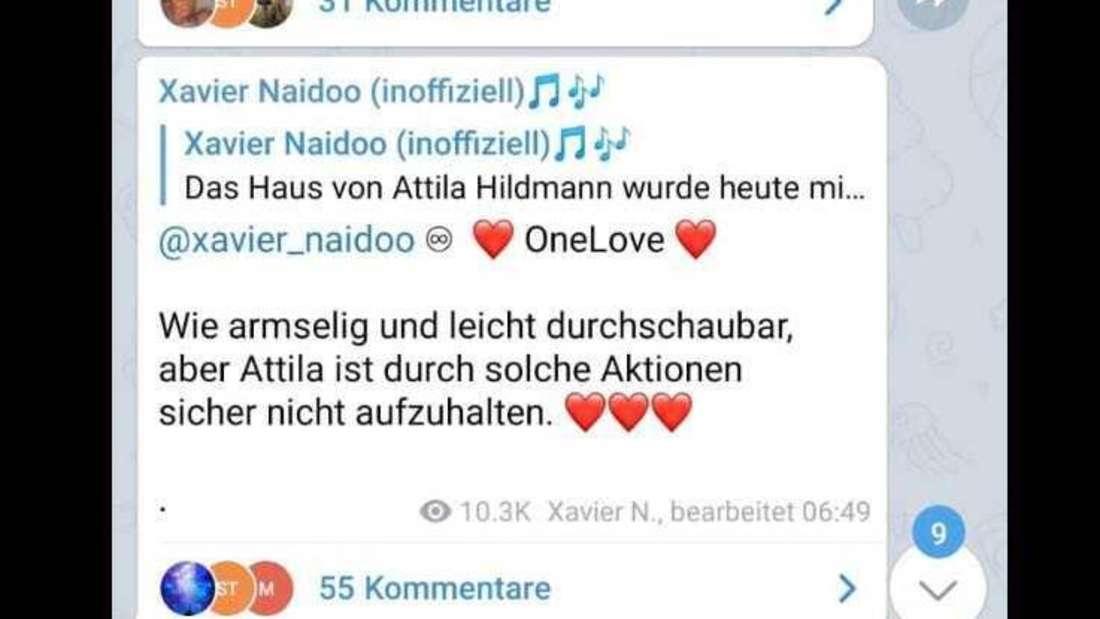 Xavier Naidoo reagiert auf Wohnungsdurchsuchung bei Attila Hildmann.