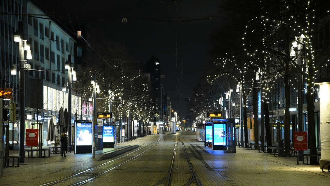 Die leere Innenstadt von Mannheim.