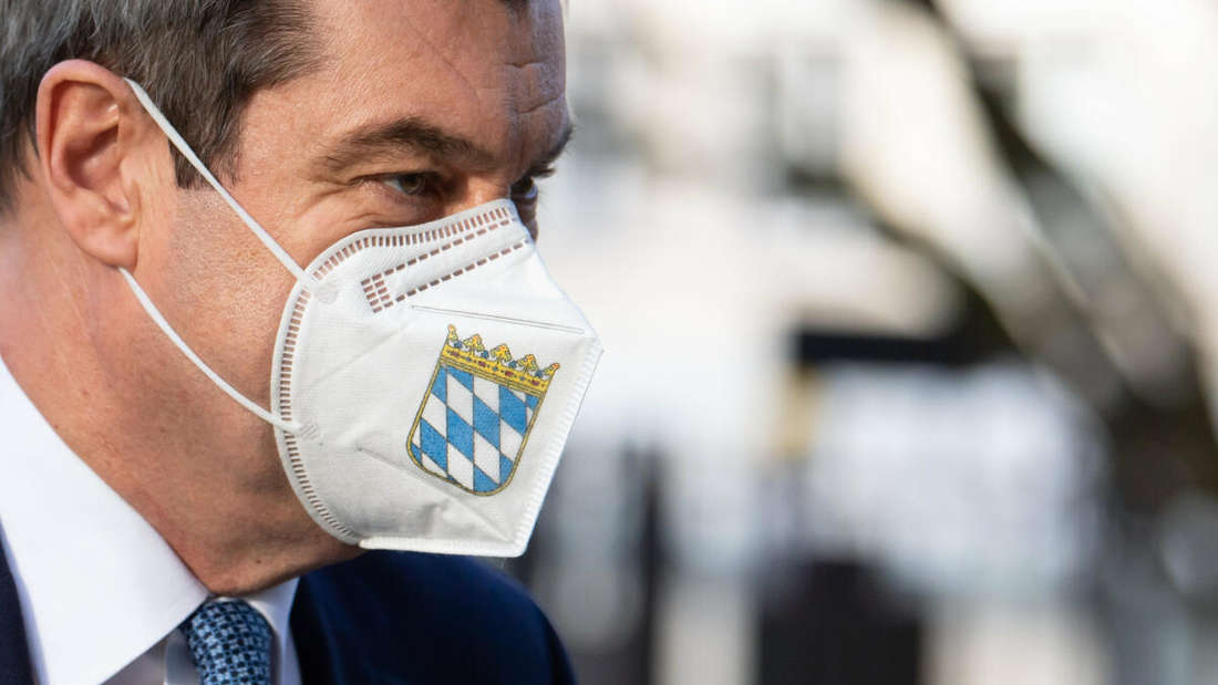 Markus Söder mit Mundschutz.