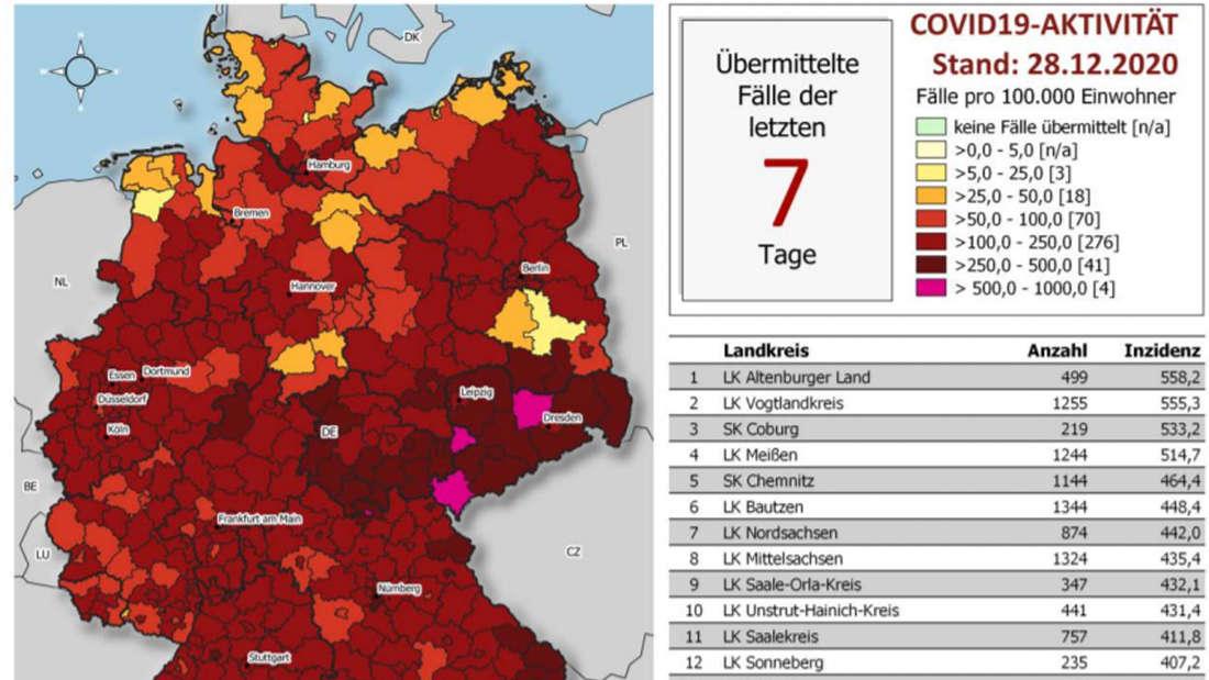 Corona-Hotspots in Deutschland: Auf der RKI-Grafik (Lagebericht vom 28. Dezember) sind enorme Unterschiede zu sehen.
