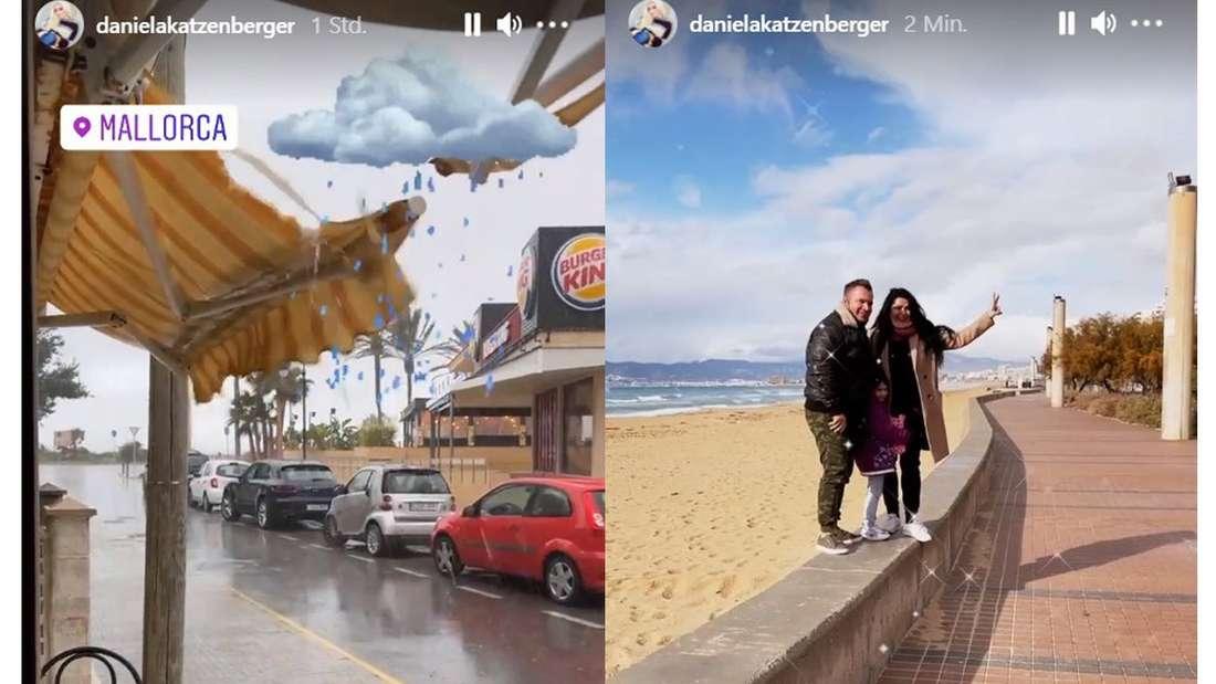 """Zwei Screenshots aus Mallorca von dem Instagram-Profil von """"Goodbye Deutschland""""-Star Daniela Katzenberger"""