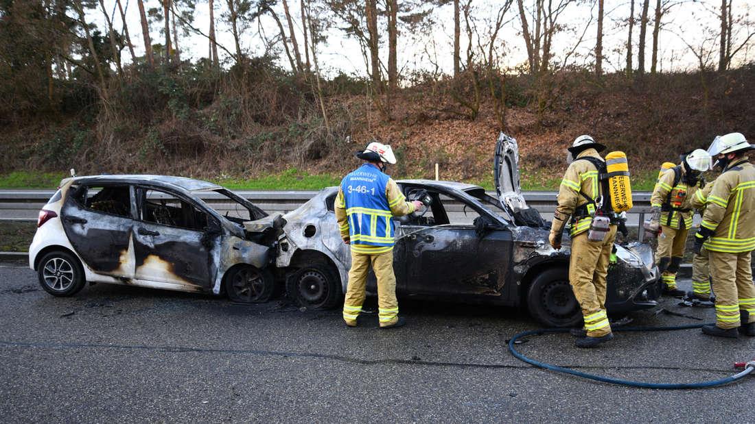 Nach einem Unfall auf der B36 bei Mannheim-Rheinau geraten am Donnerstag (22. Januar) mehrere Fahrzeuge in Brand. Nach dem Unfallverursacher sucht die Polizei noch.