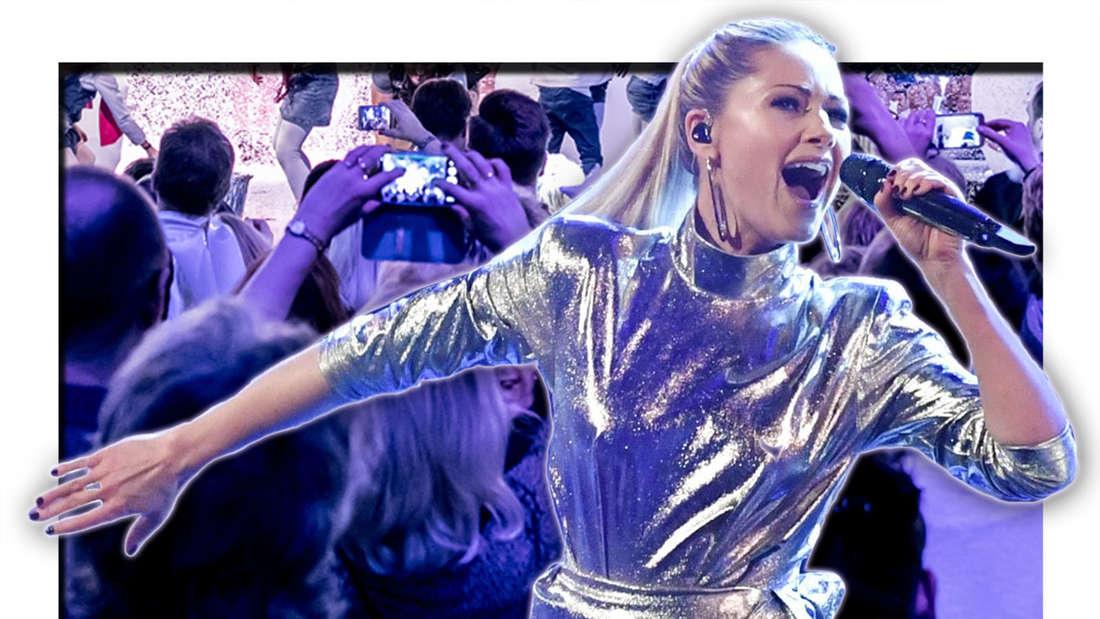 Helene Fischer singt in ein Mikrofon, dahinter ist eine Menschenmenge zu sehen (Fotomontage)