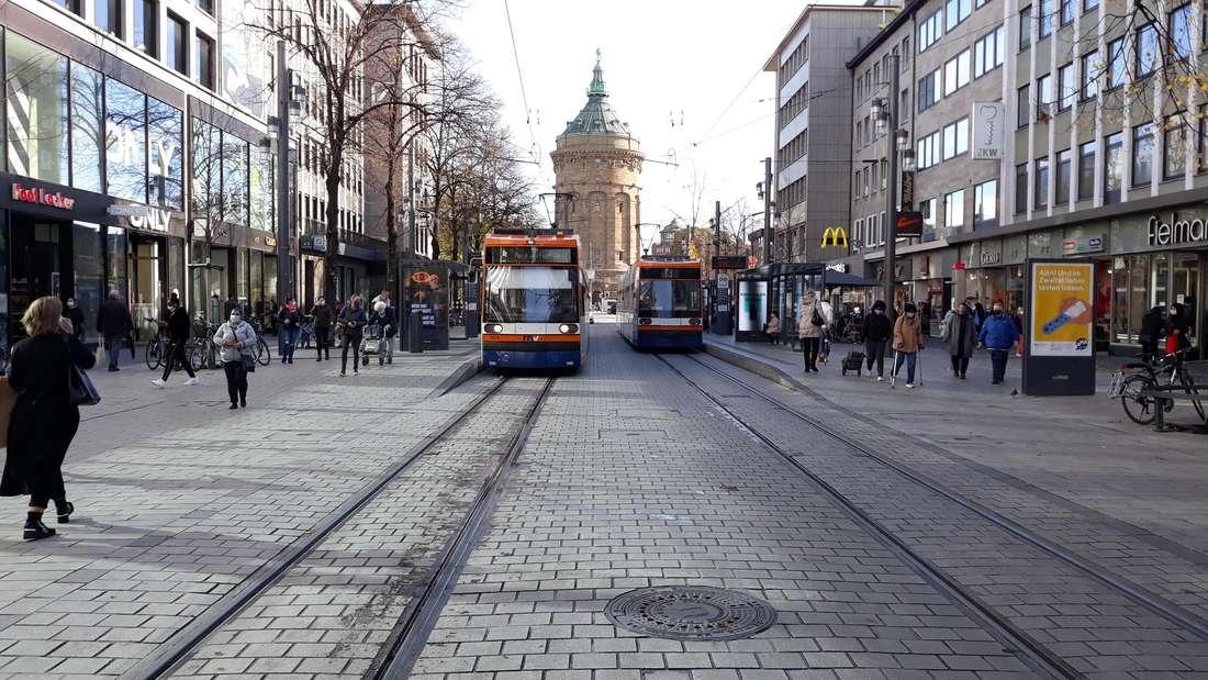 Coronavirus in Mannheim: In der Fußgängerzone auf den Planken herrscht Maskenpflicht.