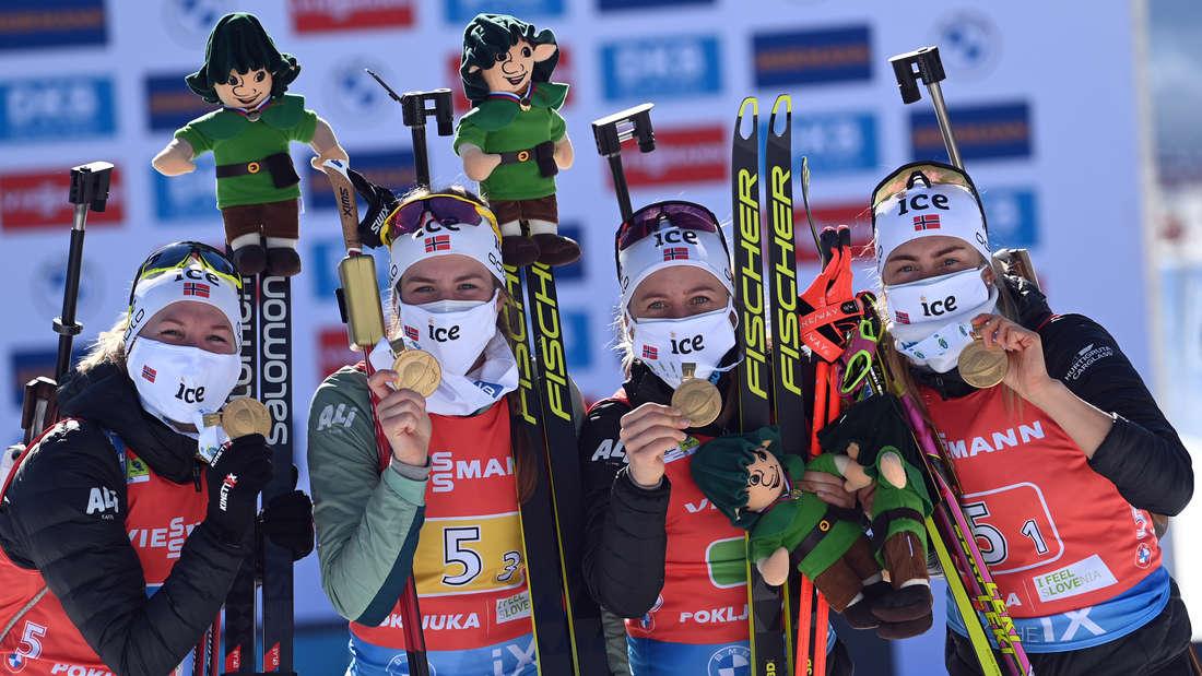 Biathlon-WM 2021: (von links) Marte Olsbu Roeiseland, Ida Lien, Tiril Eckhoff und Ingrid Landmark Tandrevold sind Weltmeisterinnen.
