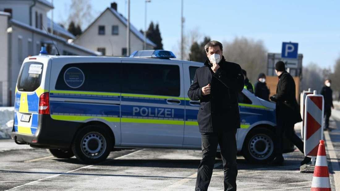 Markus Söder an der tschechischen Grenze. Er verteidigt die neuen Einreisekontrollen. Der bayerische Ministerpräsident kommt an den Grenzübergang Schirnding, um sich über die Kontrollen zu informieren.