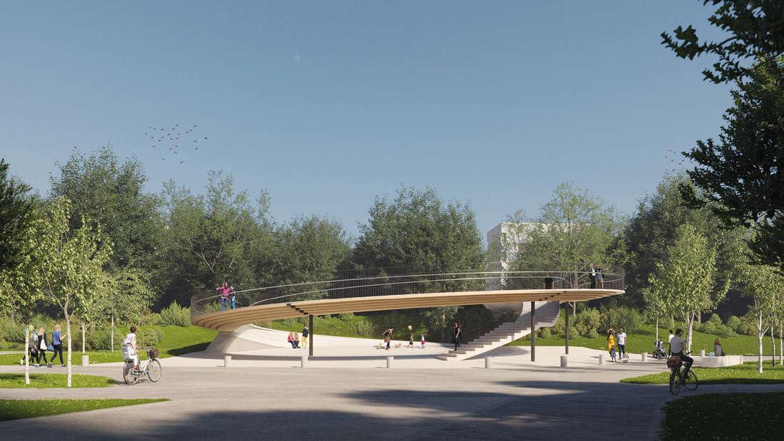 Auf der Seite von Mannheim-Vogelstang endet die Brücke des FRANKLIN Stegs in einer Platzsituation.