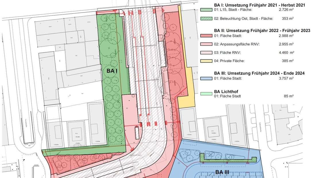 Umgestaltung des Bahnhofsvorplatzes in Mannheim – hier die Übersicht über die Bauabschnitte.