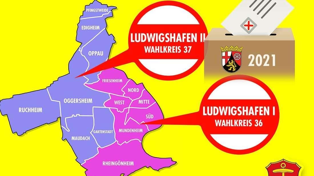 Ludwigshafen ist für die Landtagswahl 2021 in Rheinland-Pfalz in zwei Wahlkreise unterteilt.