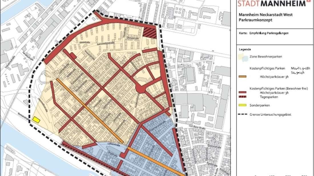 Das Konzept der neuen Parkraumbewirtschaftung in der Mannheimer Neckarstadt-West.
