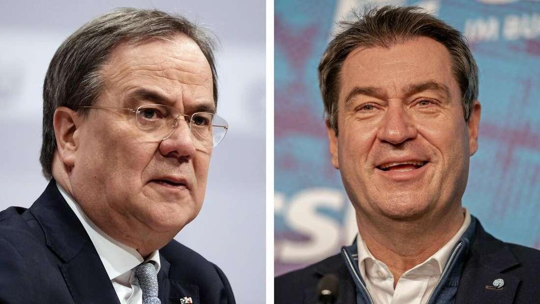Eine Gegenüberstellung der zwei Politiker Armin Laschet (CDU) und Markus Söder (CSU).