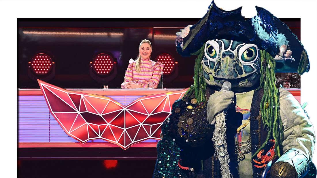 Die Schildkröte performt auf der Bühne - dahinter ist Ruth Moschner zu sehen (Fotomontage)
