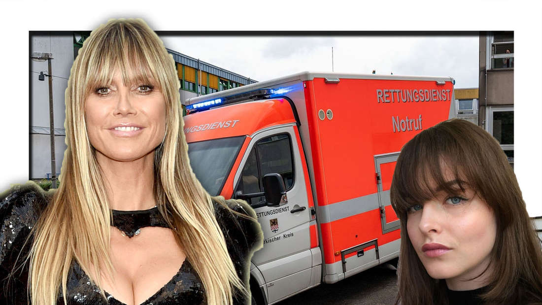 Jasmine schaut ausdruckslos in die Kamera, neben ihr ist Heidi Klum zu sehen, dahinter ein Rettungswagen (Fotomontage)