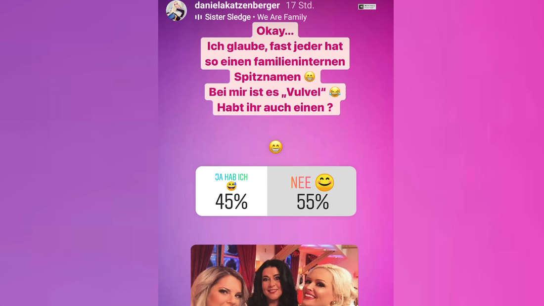 Fotomontage: Screenshot von Daniela Katzenbergers Instagram Story