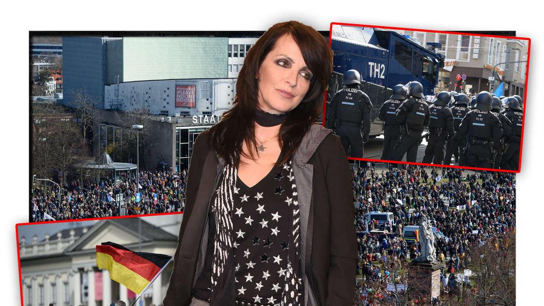 Popstar Nene steht vor den Teilnehmern der Corona-Demo in Kassel, daneben Bilder des Querdenker-Protests (Fotomontage)