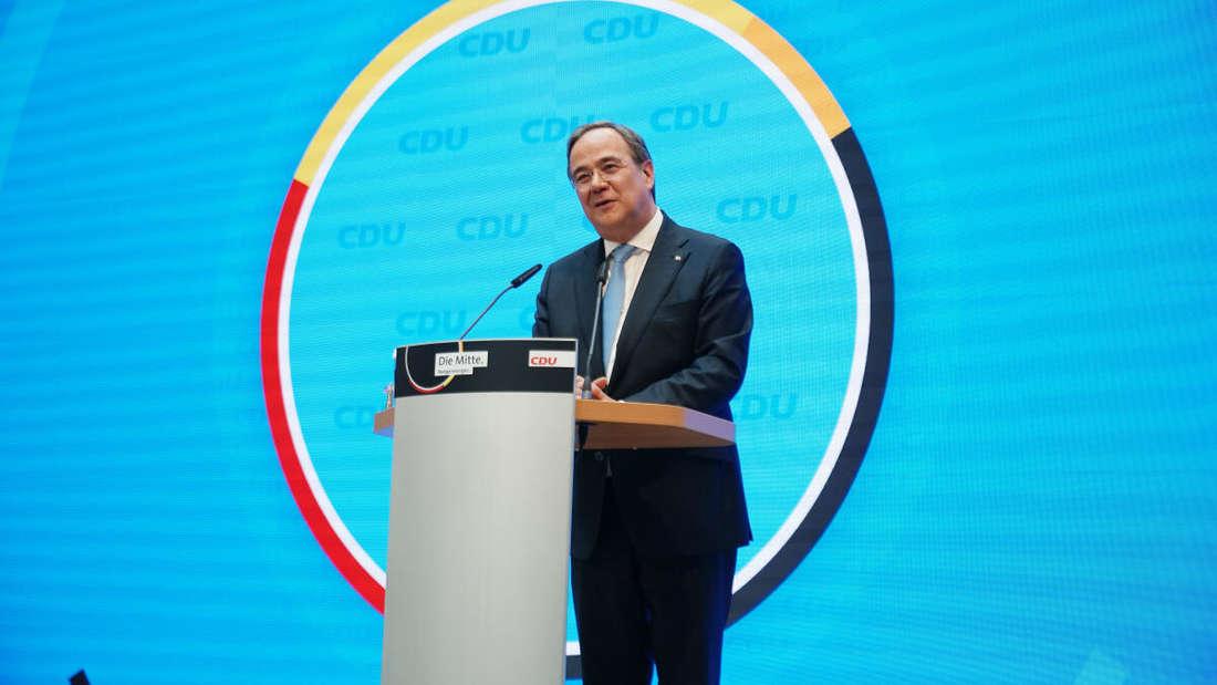 Der CDU-Vorsitzende und Ministerpräsident von Nordrhein-Westfalen, Armin Laschet gibt eine Pressekonferenz im Konrad-Adenauer-Haus zur Kanzlerkandidatenfrage der Union.