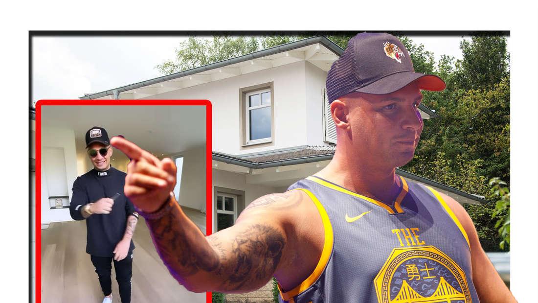 Pietro Lombardi zeigt mit dem Finger auf einen Screenshot seines Haus-Videos - im Hintergrund ist ein Haus zu sehen (Fotomontage)