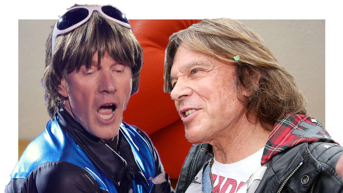 Jürgen Drews und Mickie Krause vor Boxhandschuhen. (Fotomontage)