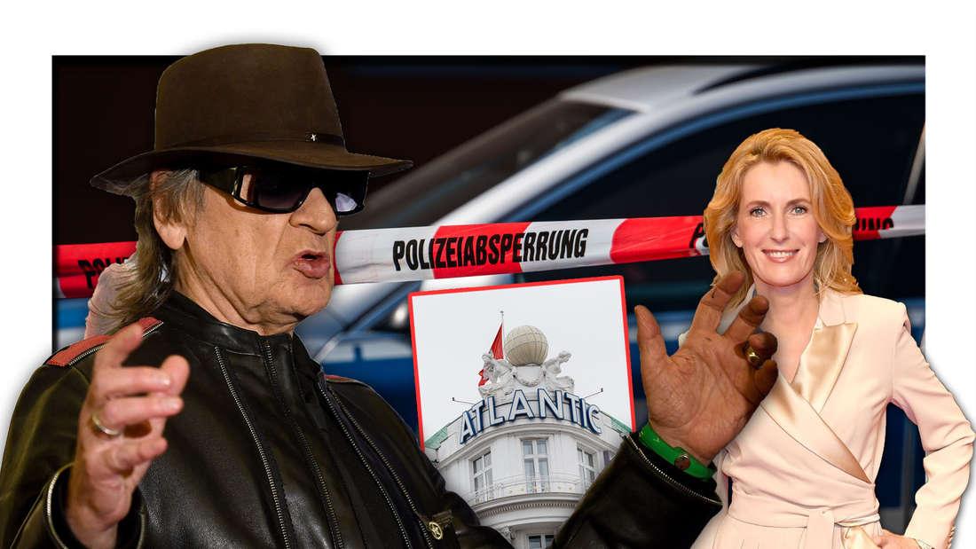 Rockmusiker Udo Lindenberg steht vor einer Polizeiabsperrung, daneben die Schauspielerin Maria Furtwängler und das Hotel Atlantic (Fotomontage)