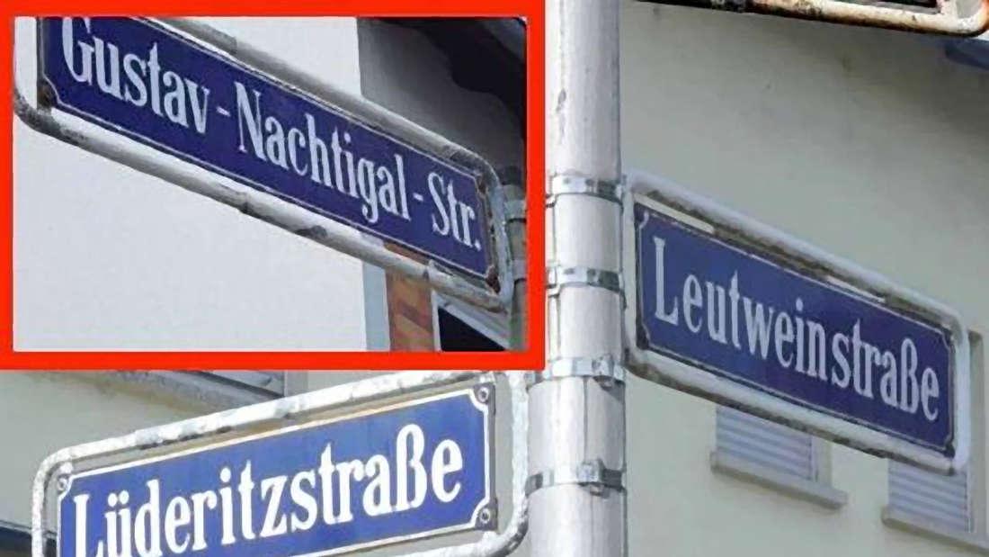 Drei der nach deutschen Kolonialpionieren des späten 19. Jahrhunderts benannten Straßen in Mannheim-Rheinau.