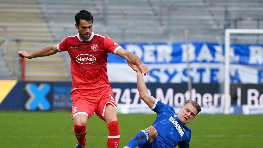 Das Hinspiel in Karlsruhe hat Fortuna Düsseldorf gewonnen.
