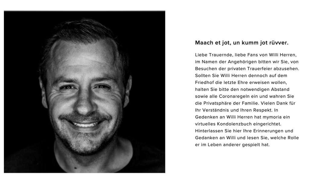 Virtuelles Kondolenzbuch für Willi Herren (†45)