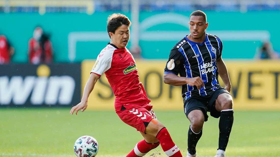 Anton Donkor (r.) spielt seit 2020 für den SV Waldhof Mannheim.