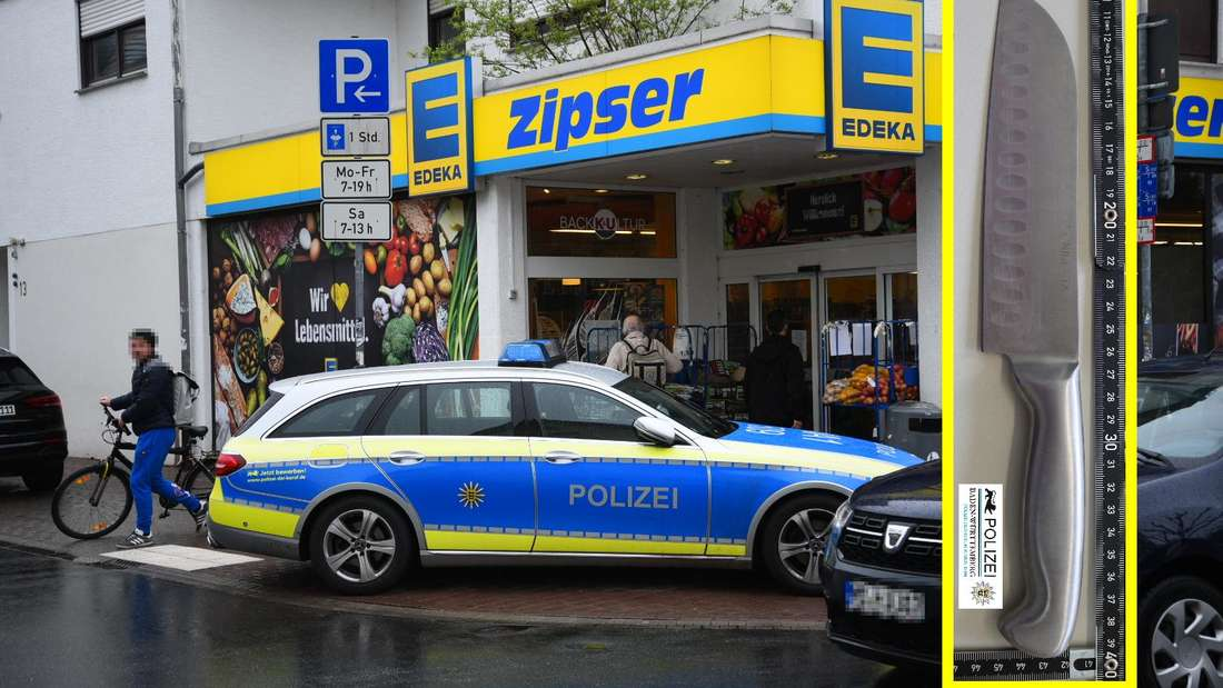 """Überfall in Schriesheim: Die Fahndung nach dem unbekannten """"EDEKA-Räuber"""" verlief bislang ohne Ergebnis (Fotomontage)."""