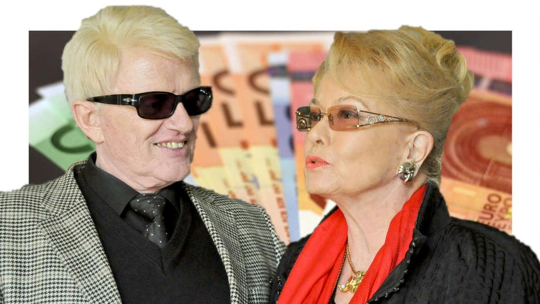 Heino und Hannelore vor einem Stapel Euro-Scheinen (Fotomontage)