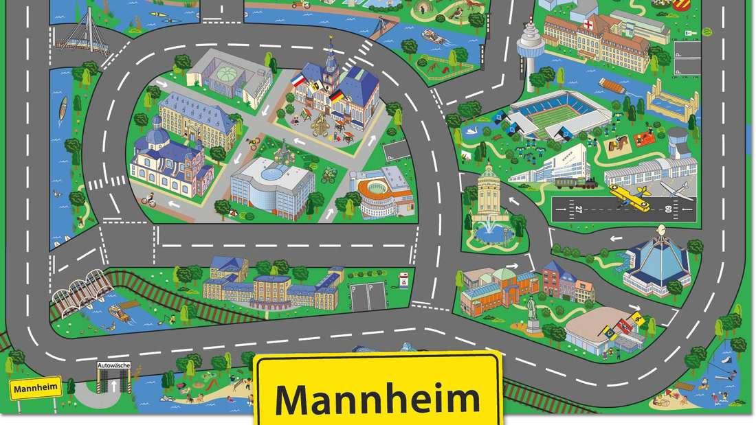 Der Mannheim-Spielteppich für Kinder und Junggebliebene.