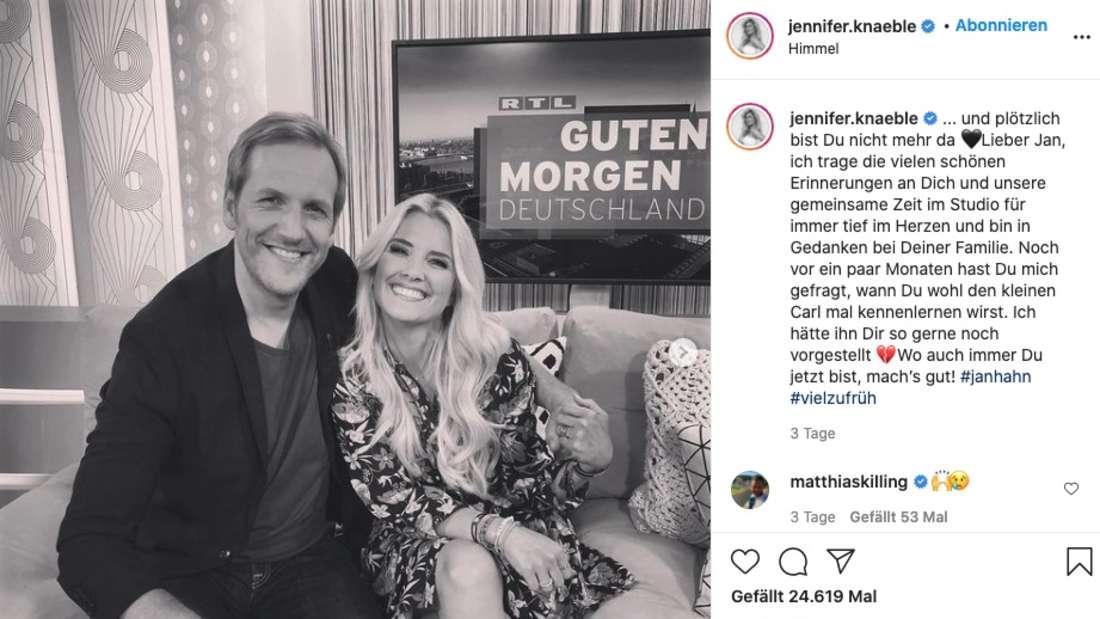 In einem bewegenden Instagram-Beitrag schreibt die ehemalige RTL-Moderatorin, dass sie Hahn gerne ihren Sohn vorgestellt hätte