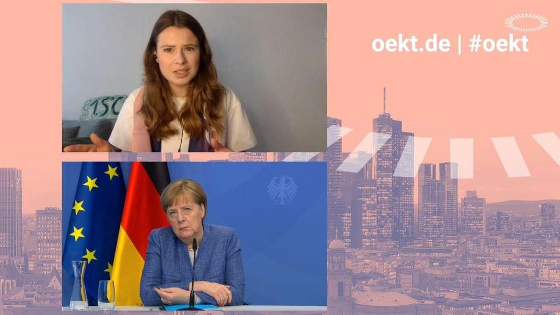 Angela Merkel (CDU) und Luisa Neubauer (Fridays For Future) haben beim Kirchentag über Klimagerechtigkeit gesprochen.