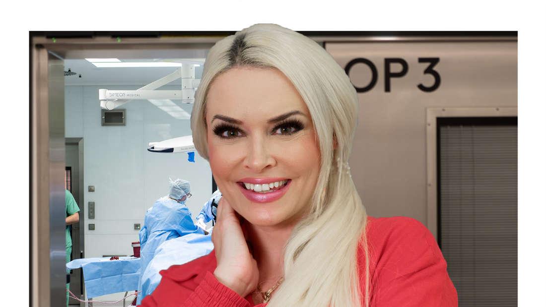 Daniela Katzenberger lächelt in die Kamera - im Hintergrund ist ein OP-Raum zu sehen (Fotomontage).