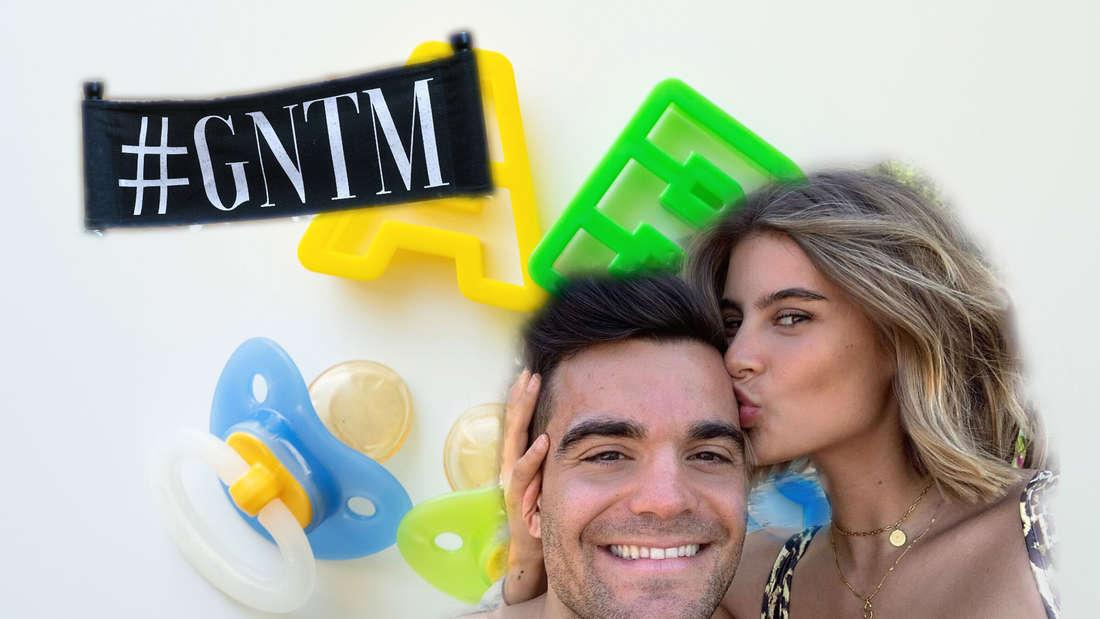 Stefano Zarrella und Romina Palm vor Babyschnuller-Hintergrund mit GNTM-Logo