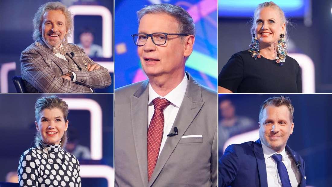 v.li.n.re.: Thomas Gottschalk, Anke Engelke, Moderator Günther Jauch, Barbara Schöneberger, Oliver Pocher