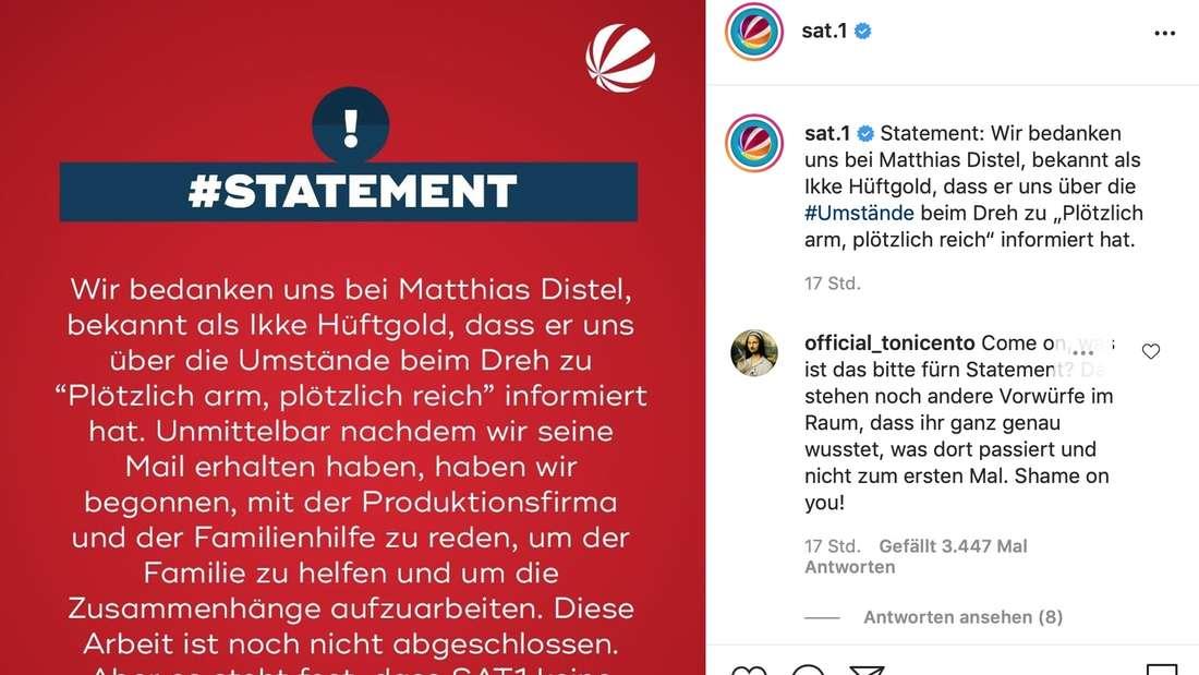 Das Statement von Sat.1 auf Instagram