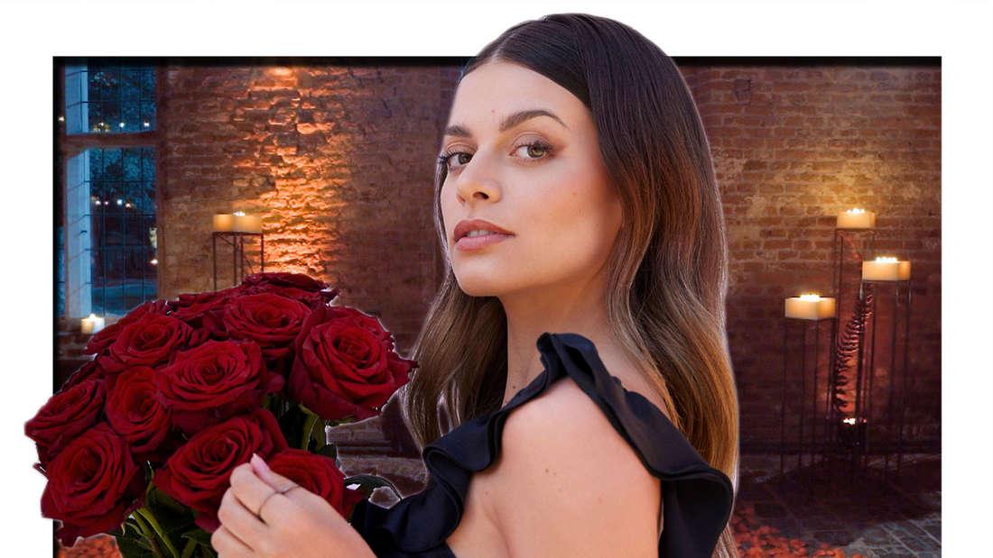Fotomontage: Maxime Herbord hält Rosenstrauß vor Kerzen Hintergrund