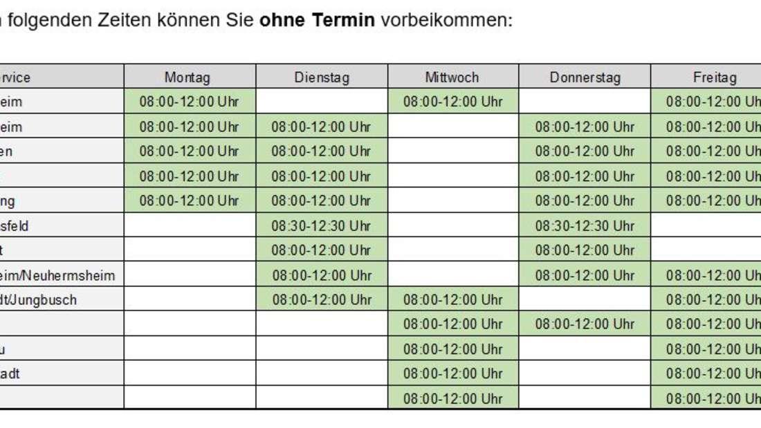 Die offenen Sprechstunden der Bürgerdienste der Stadt Mannheim.