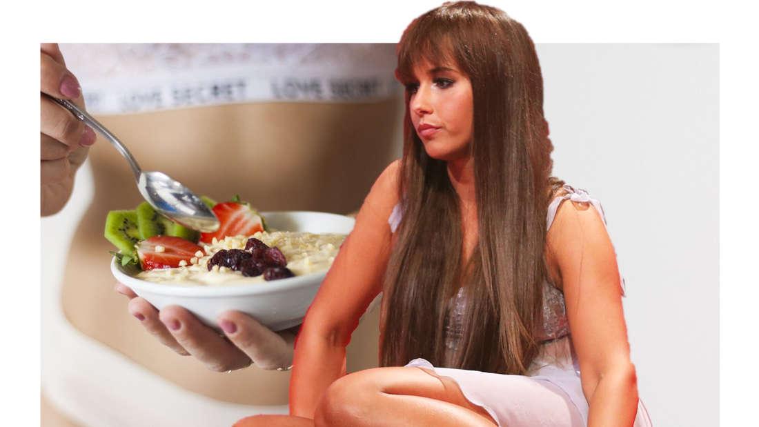 Sarah Lombardi neben einem Teller Müsli. (Fotomontage)