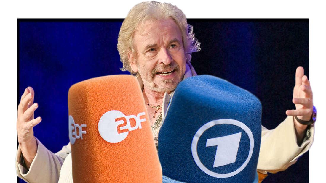 Fotomontage: Thomas Gottschalk mit ZDF und ARD Mikrofon